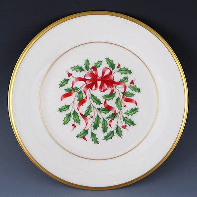 Lenox China NEW Red Ribbon HOLIDAY Accent Salad Luncheon Plate /s for Christmas