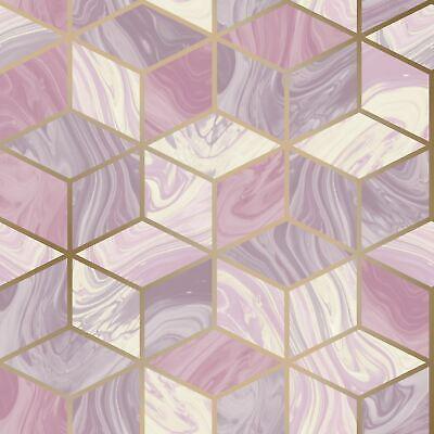 Mármol Geométrico Diamantes Rosa 248968 Rasch Pintado - Metálico Hexágono Cubos