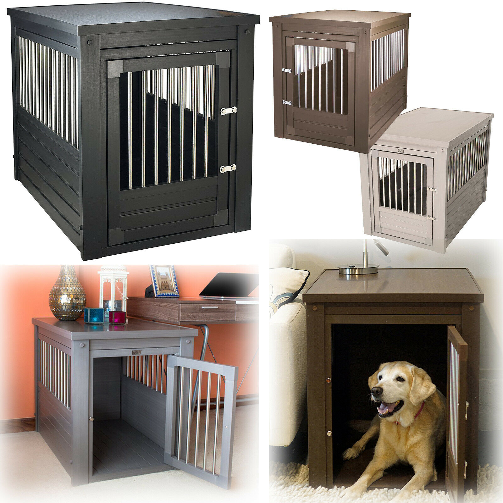Dog Crate Metal Cage Stainless Steel Spindles Small Medium L