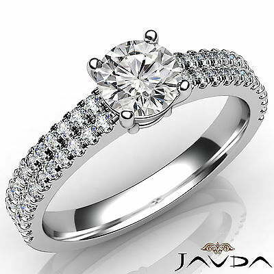 French U Pave Round Diamond Engagement Wedding Ring GIA Certified F VVS2 1.21 Ct