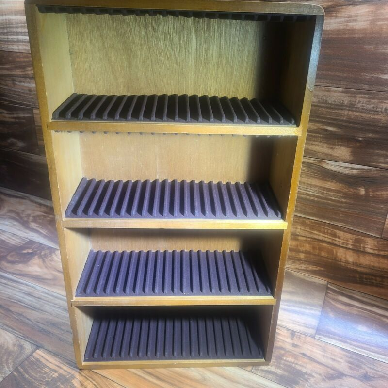 VINTAGE WOOD CD SHELF STORAGE HOLDER FOR CDS HOLDS 80 SINGLE CDS