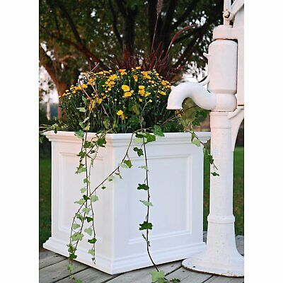 Large Patio Planter Box Outdoor Garden Deck Decor Flower Pot Gardening Square ()