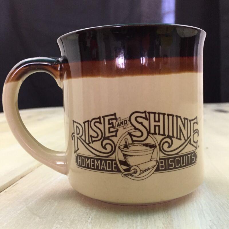 HARDEES RISE & SHINE - Vtg 1984 Brown Tan Ceramic Coffee Cup Mug - MUST SEE!