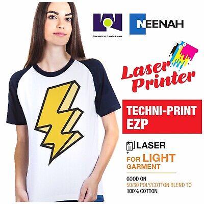 Laser Heat Transfer Paper Light Techni Print Ezp 50 Sheets 8.5x11 Made In Usa