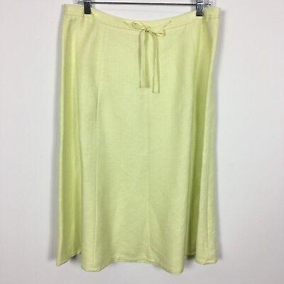 Emma James Womens Skirt Size 6 Light Chartreuse Linen Blend Side Zip Ribbon Belt