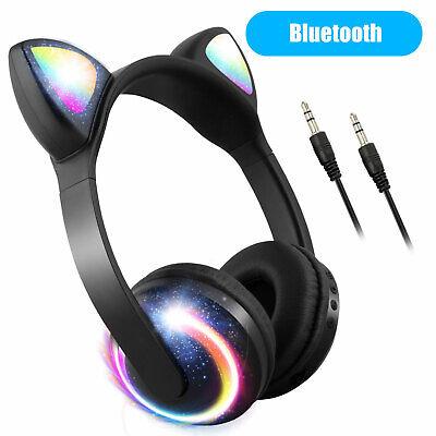 Bluetooth Wireless Cat Ear Headsets LED w/Mic Headphones For Kids Adult Girls