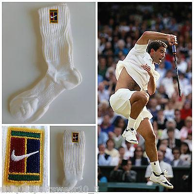 Vtg 90s NIKE SUPREME COURT SAMPRAS Tennis Crew Socks 1 PAIR Retro OG Men's NEW