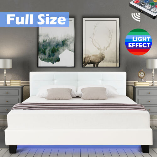 Garden Furniture - Full Size Leather Metal Bed Frame Upholstered Mattress Platform LED Light White