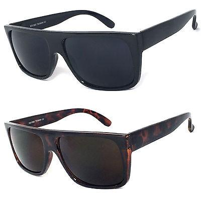 Retro Square Frame Sunglasses Mens Womens Flat Top Square Super Dark Lens