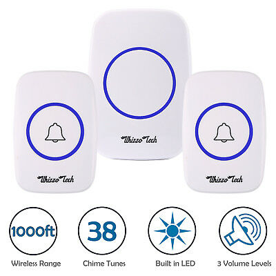 Wireless Doorbell Battery Operated Door Bell 2 Remote Button+1 Plug in Receivers
