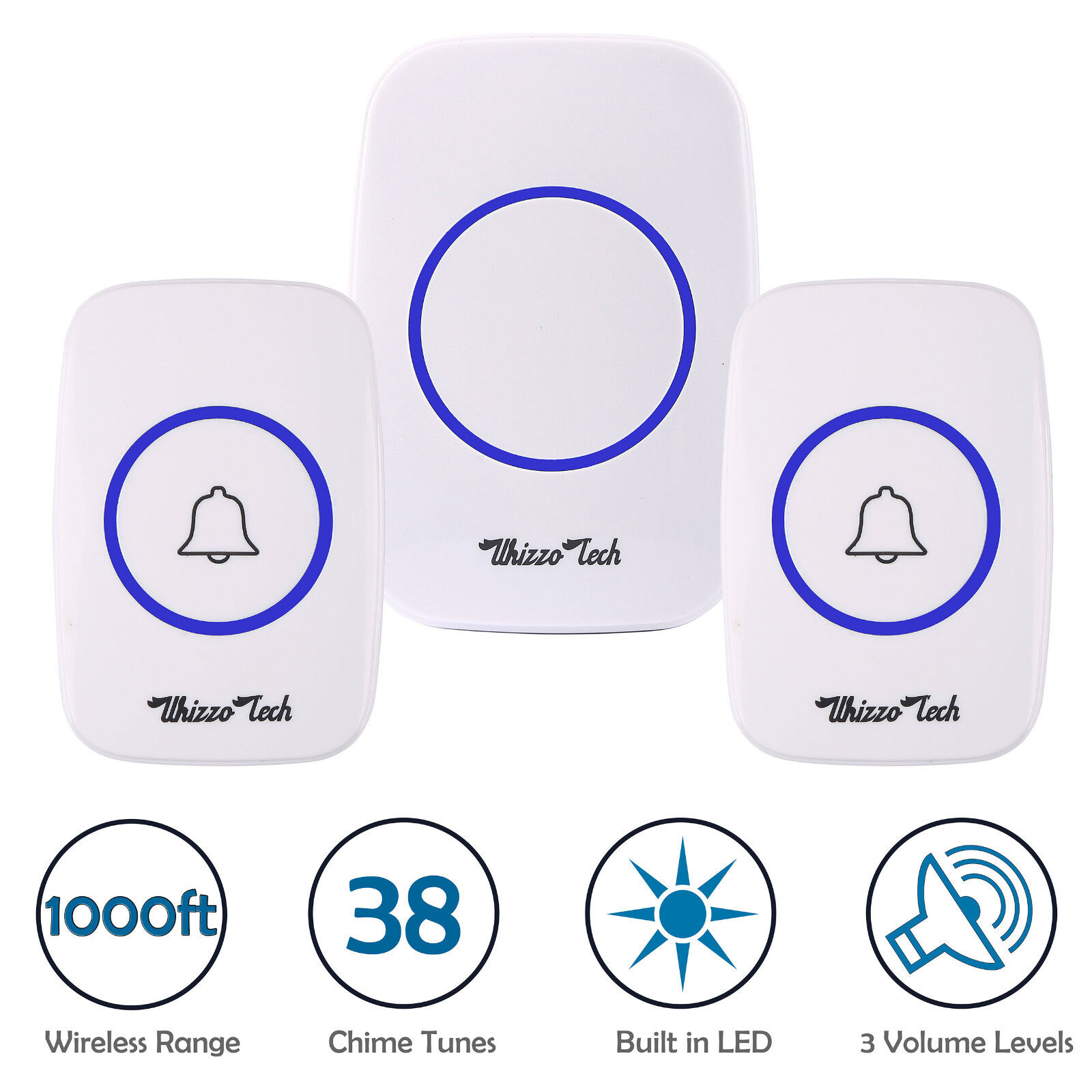 Wireless Doorbell Battery Operated Door Bell 2 Remote Button+1 Plug in Receivers Building & Hardware