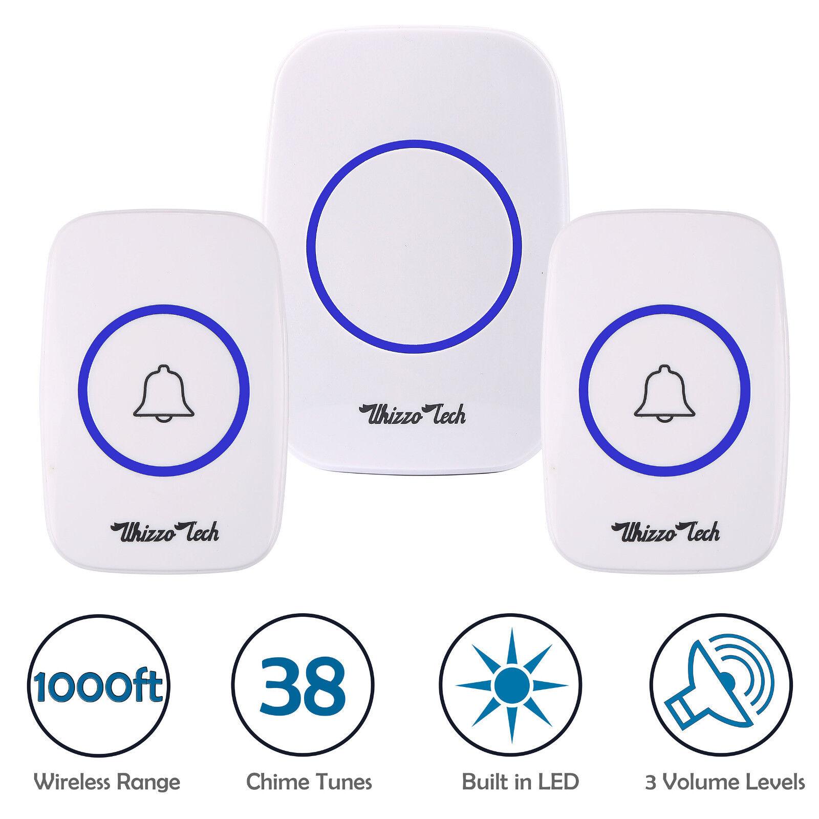 Wireless Doorbell Battery Operated Door Bell 2 Remote Button