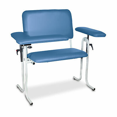 Upholstered Blood Draw Chair Wide Blue Flip Arm 1 Ea