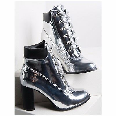 Cape Robbin RORY-1 Mirror Metallic Silver Lace Up Chunky Block Heel Ankle Boot