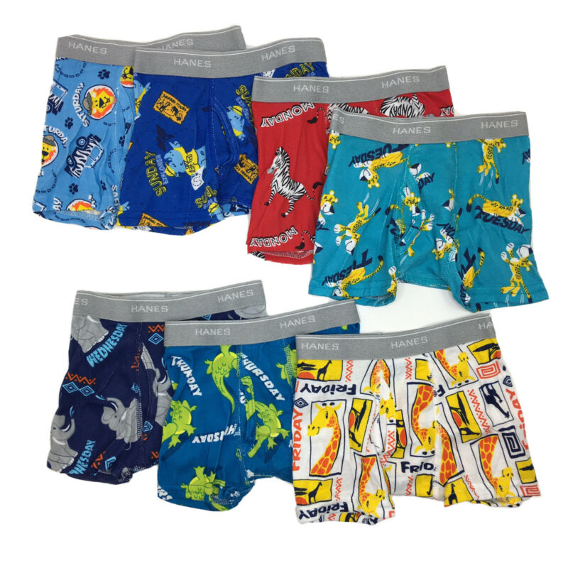 7 Pack Hanes Toddler Boy Boxer Briefs Soft Breathable Days of the Week New 2T-3T