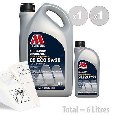 Car Engine Oil Service Kit / Pack 6 LITRES Millers XF Premium C5 ECO 5W20 6L