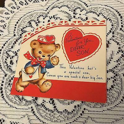 Vintage Greeting Card Valentine Cute Bear Rust Craft Hat