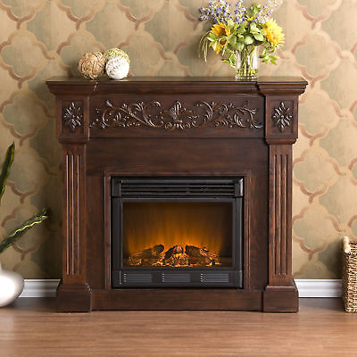 Southern Enterprises Calvert Carved Ivory Gel Fireplace Espresso Electric