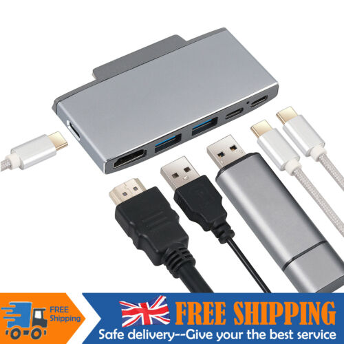6 IN 1 USB C Hub HDMI Adapter Docking Station Dongle 1080P 4K for Surface Go UK