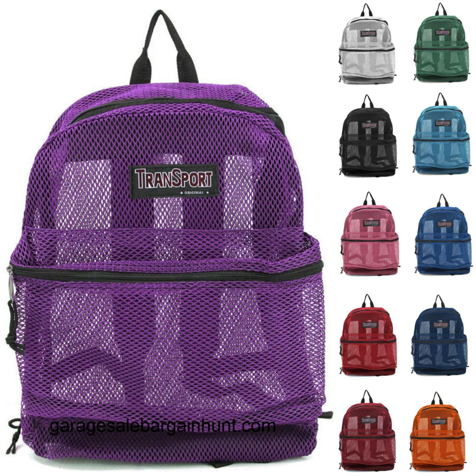 Transparent See Through Mesh Backpack Book Bag Kids Back To School Sack 17
