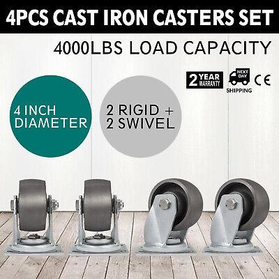 4 Heavy Duty Semi Steel Cast Iron Casters - 2 Swivel 2 Rigid - 4000 Lb