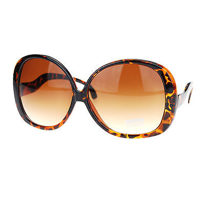 """SUPER"" Oversized Sunglasses Women's Round Wavy Temple Frame Tortoise"