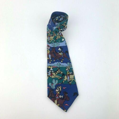 Disney The Tie Works Mens Mickey & Goofy Cowboy Tie Western 100% Silk Balancine