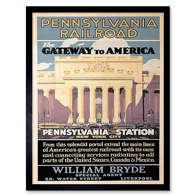 Penn Station New York New York (Travel Pennsylvania Railroad New York Usa Rail Station Vintage Framed Print)