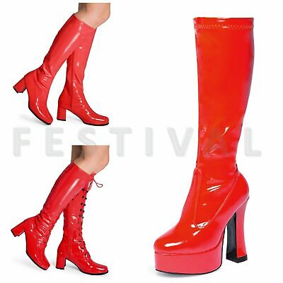 Womens Ladies Mens Red  Knee High Eyelet - Womens Red Knee High Boots