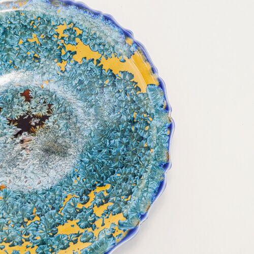 Edgecomb Potters Crystalline Glaze Scalloped Edge Bowl, art studio ceramic, blue