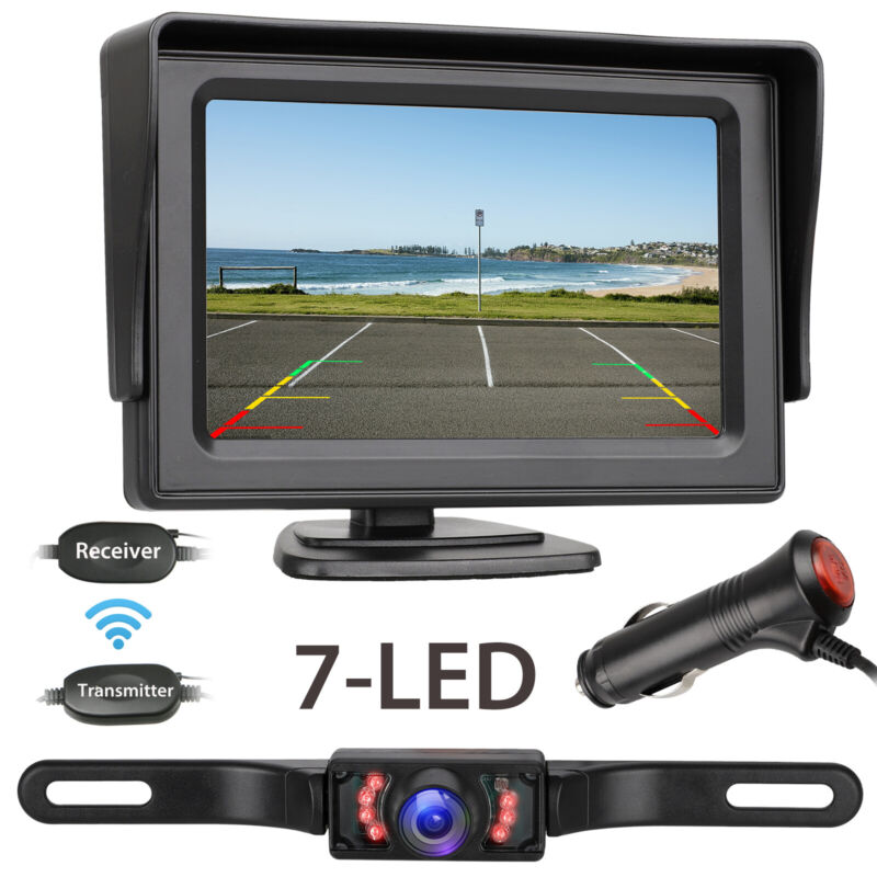 "Wireless Rear View Backup Camera Night Vision System+4.3"" Monitor For Car Truck"