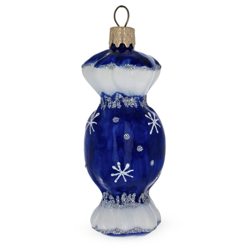 Blue Candy Glass Christmas Ornament