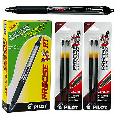 Pilot Precise V5 Rt With Refills Black Ink 0.5mm Extra Fine Point Pens