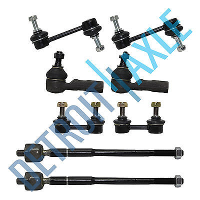 Rear Tie Bar - NEW (8)  Front & Rear Sway Bar Link + 2 Inner Outer Tie Rod for Toyota Corolla