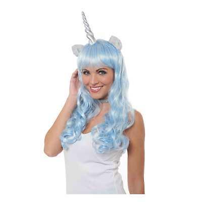 Womens Blue Silver Magical Unicorn Pony Horn Costume Long Wig DIY Festival Group - Diy Womens Halloween Costumes
