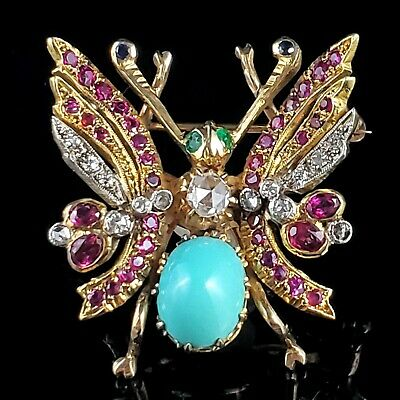 Antique Diamond Turquoise Ruby Emerald Sapphire 14k Yellow gold Butterfly Brooch Diamond Ruby Sapphire Brooch