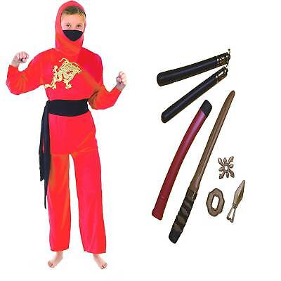 Ninja Mädchen Kostüm ROT Gr. 110-146 mit 5 teiligen Ninja Samurai Set