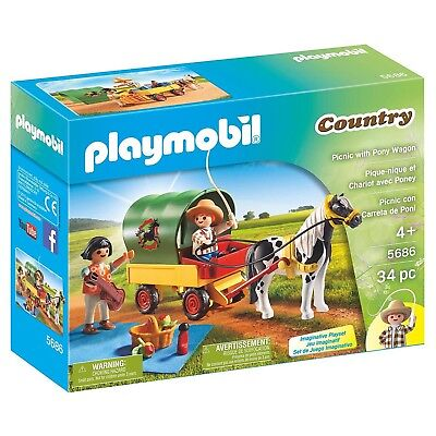 Playmobil Country Picnic With Pony Wagon Building Set 5686 NEW Toys Kids