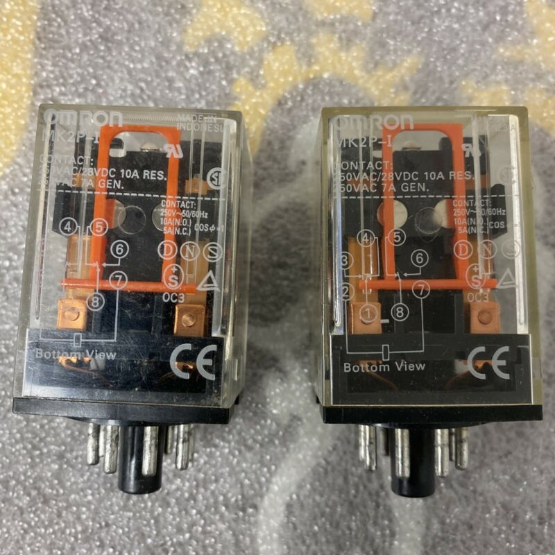 LOT OF 2 Omron MK2P-I-DC24 General Purpose Relay 10A 24VDC NEW OLD STOCK