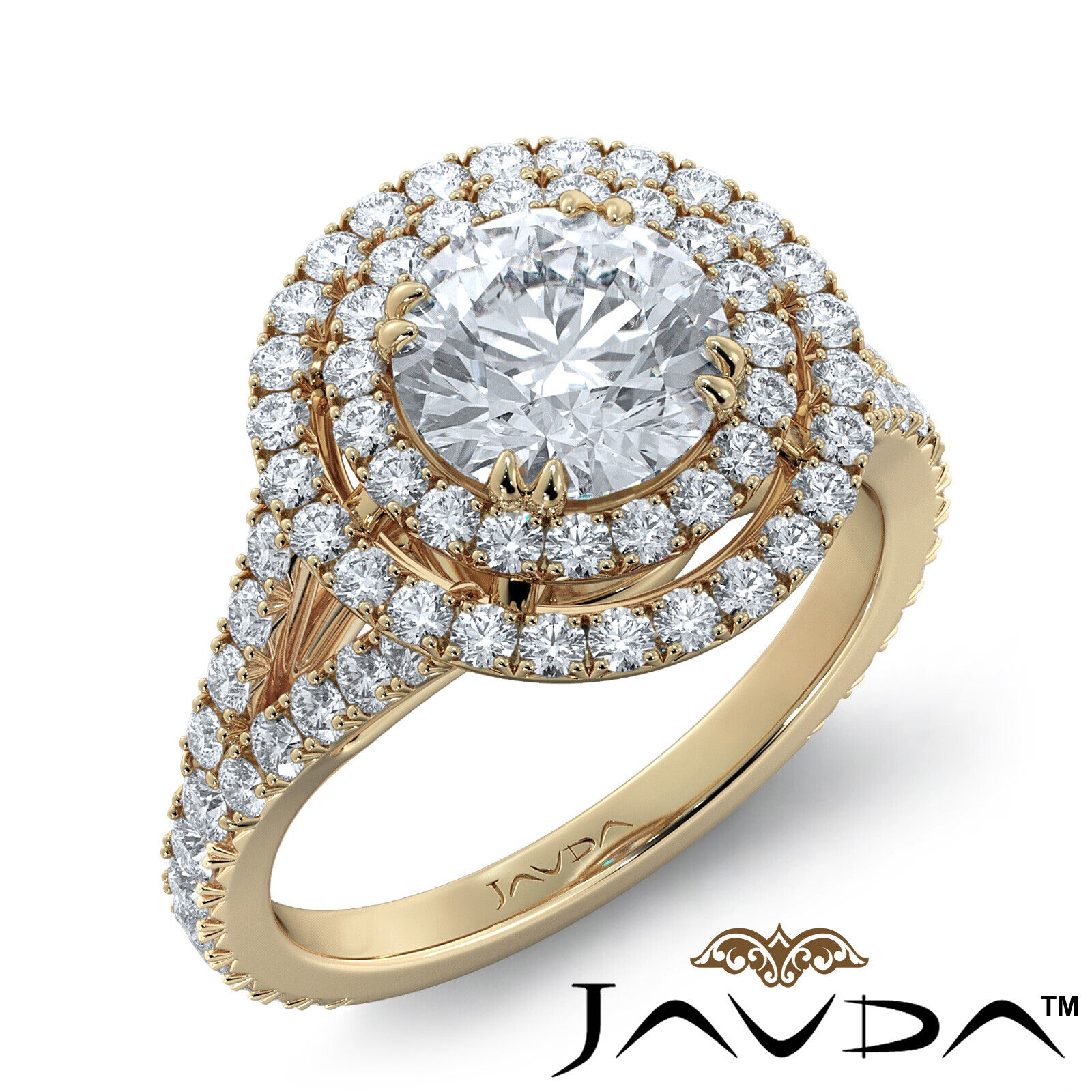 2.05ct French Pave Gala Halo Round Diamond Engagement Ring GIA F-VVS1 White Gold 6