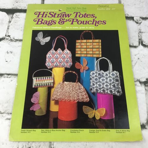 Columbia Minerva Vtg 1971 Pattern Leaflet #204 HiStraw Totes Bags and Pouches