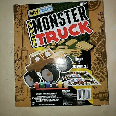 Build your own monster truck boycraft kit, new Wood Kit wheels stickers glue (Own Monster Kit)
