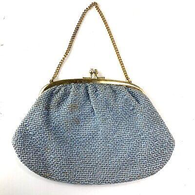 1940s Handbags and Purses History VTG Mid Century Woven Tweed Handbag 1940's Purse Chain Strap Kiss Lock Gold Blue $7.97 AT vintagedancer.com