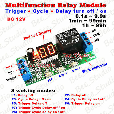 Dc12v Led Programmable Cycle Delay Turn Onoff Timer Control Relay Switch Module