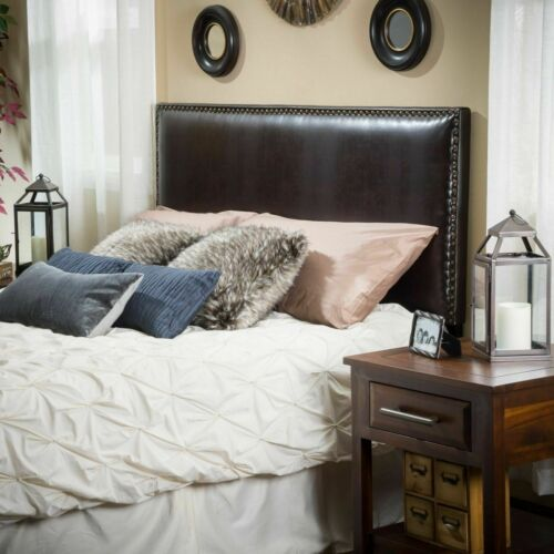 Alonzo Queen to Full Sized Brown Leather Headboard Beds & Mattresses