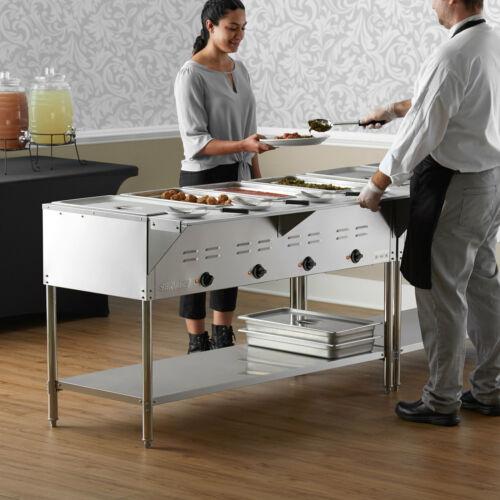 "57"" 4-Pan Restaurant Electric Steam Table Buffet Food Warmer - 120 Volt"