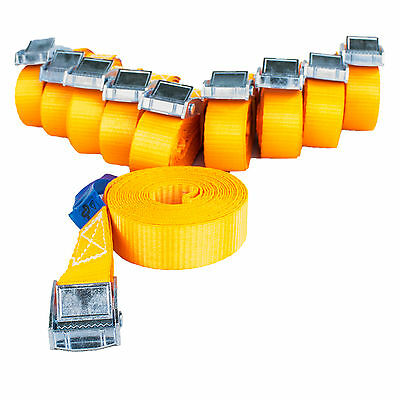 10x Spanngurt Klemmschloss 3m lang 25mm breit 250 daN Kg orange Zurrgurte TÜV/GS