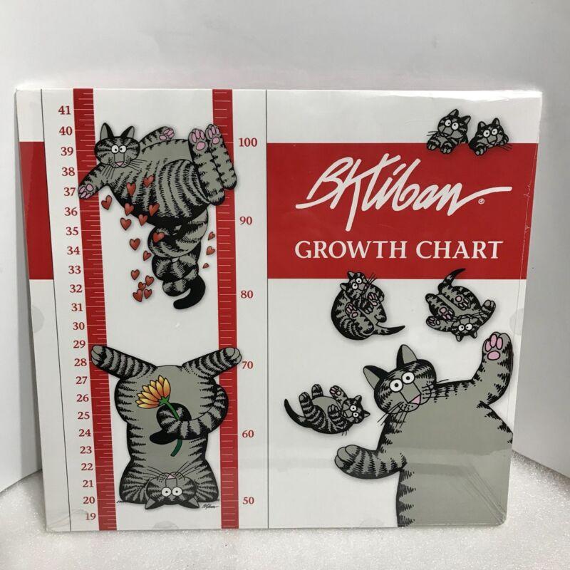 """B.Kliban Wall Sticker Cat Growth Chart 11 x 48"""" Milestone Stickers New Sealed"""