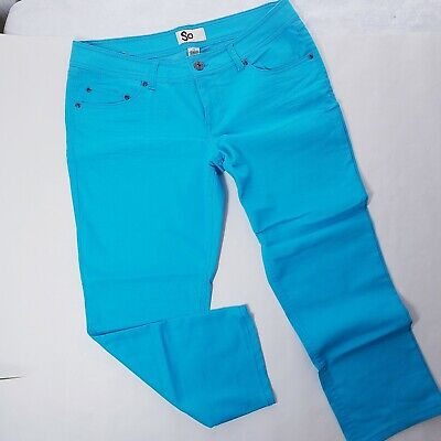 SO Womens Capri Skinny Jeans Size 15 Stretch Crop Pants Juniors Turquoise  -