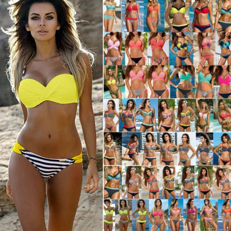 Bikini Set Sexy Badeanzug Damen Push-Up Bademode Gepolstert Strand Schewimmanzug